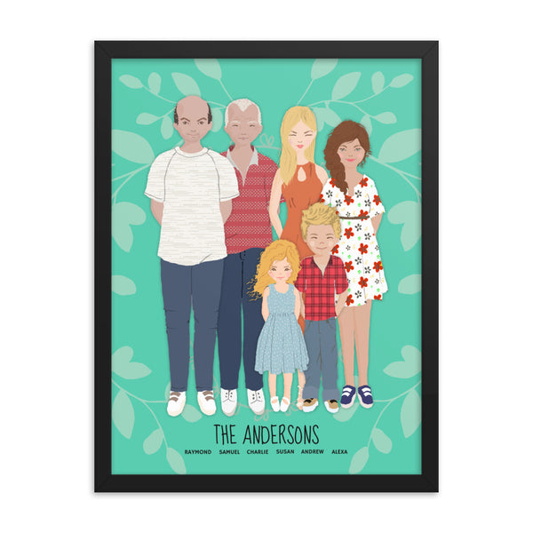 A whimsical stylized cartoon family portrait art print of a family of five in a black frame.