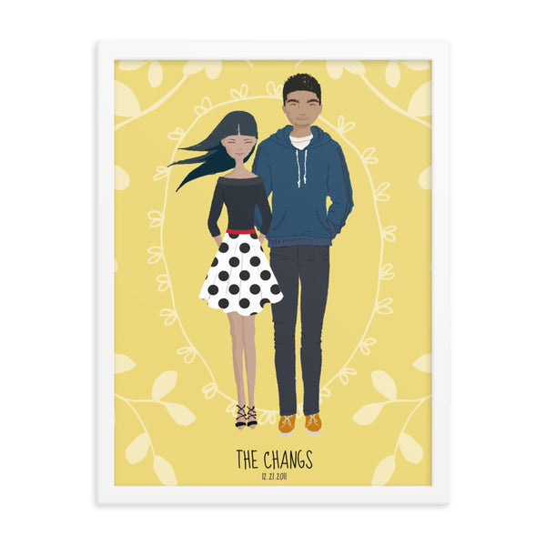 A whimsical stylized cartoon family portrait art print of Asian couple in a white frame