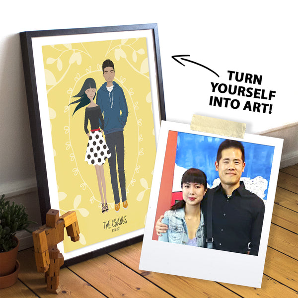 "A whimsical stylized cartoon family portrait art print of a couple. A Polaroid photo shows real couple with instructions to ""turn into art"""