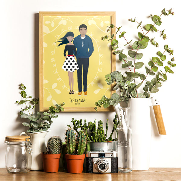 A whimsical stylized cartoon family portrait art print of asian couple on canary yellow background