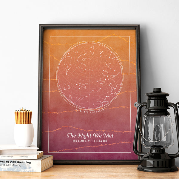 A personalized star map with constellations of provided location and date and custom messages. Design is Fiery Stone