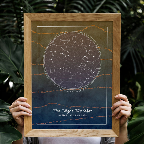 A personalized star map with constellations of provided location and date and custom messages. Design is Forest Shale