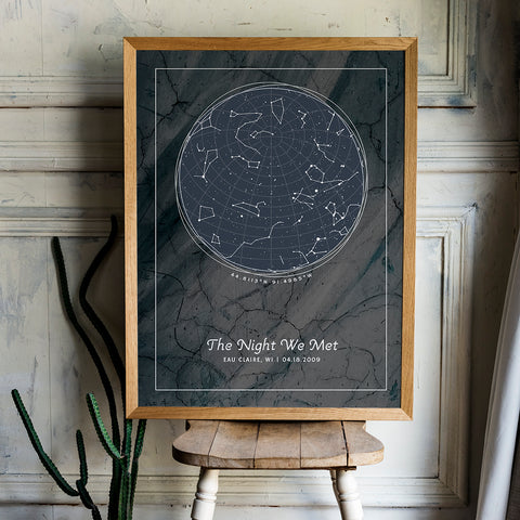 A personalized star map with constellations of provided location and date and custom messages. Design is Serene Slate