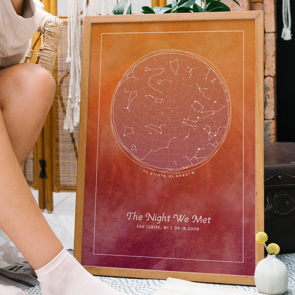 A personalized star map with constellations of provided location and date and custom messages. Design is Maui Sunset