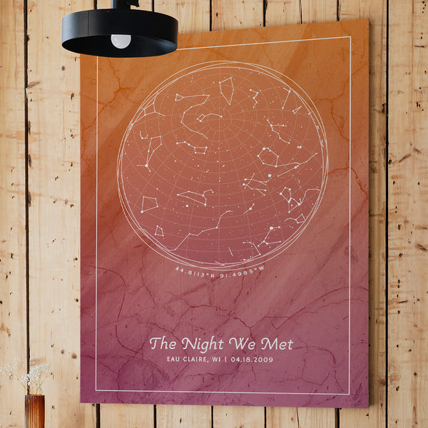 A personalized star map with constellations of provided location and date and custom messages. Design is Earth's Embrace