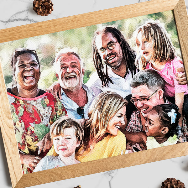 A personalized watercolor art print of group of joyful people. Based on photo, but looks hand painted!