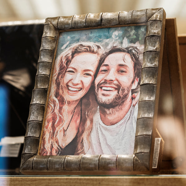 A personalized watercolor art print of happy couple. Based on photo, but looks hand painted! Artist will use photo for background