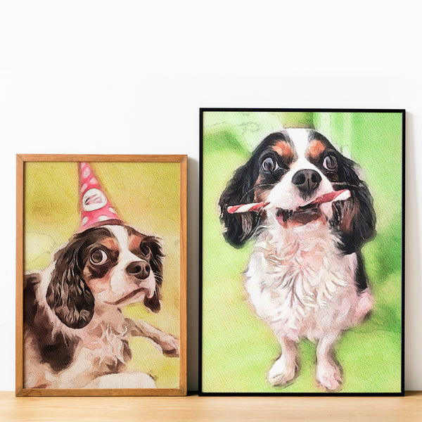 Personalized custom pet watercolor portrait of cavalier king charles puppy dog on yellow hues and green hues background