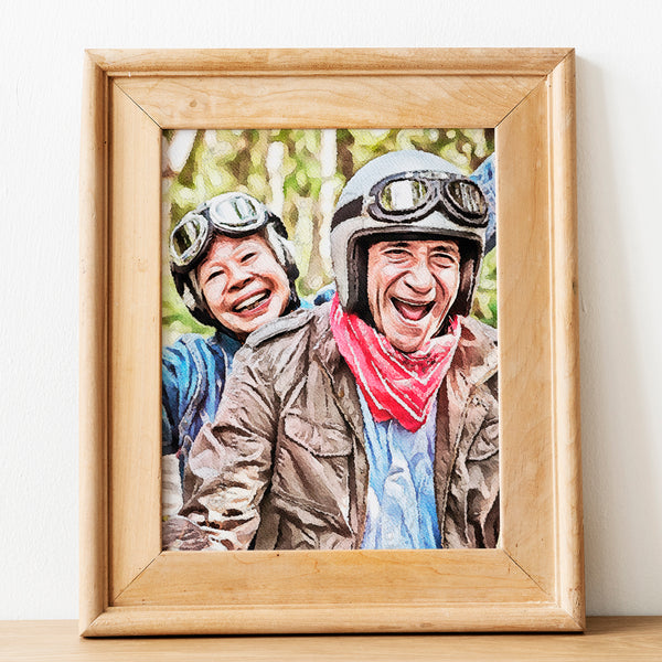 custom watercolor portrait of two elderly people riding scooter on green hues background