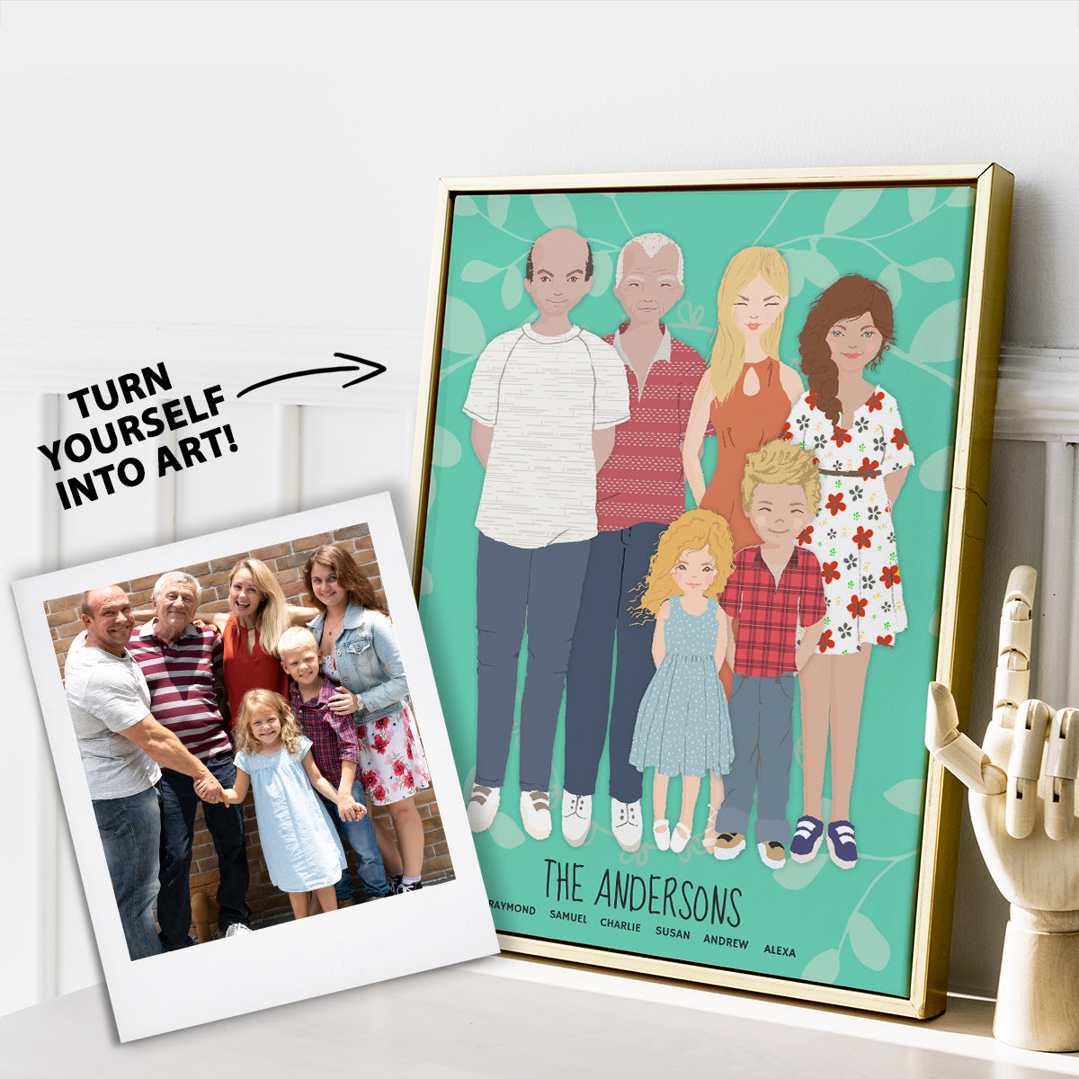 "A whimsical stylized cartoon family portrait art print of a family of five in gold frame. Polaroid with instructions to ""turn into art"""