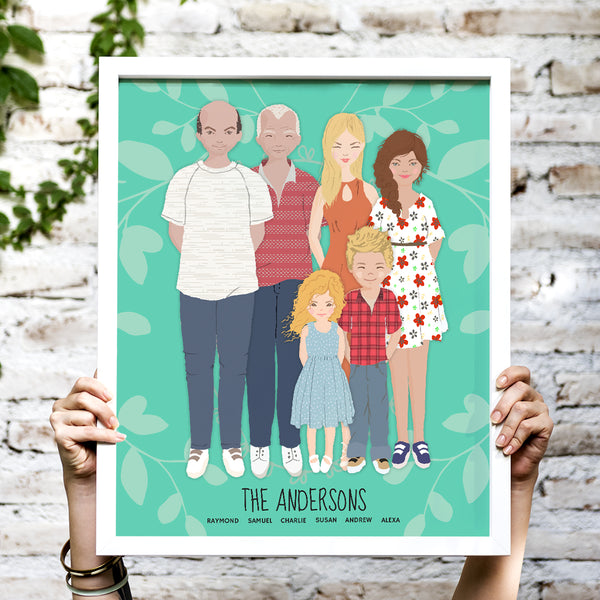 A whimsical stylized cartoon family portrait art print of a family of five with names on aquamarine background