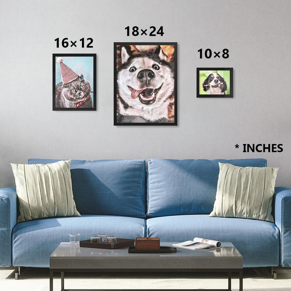 Custom watercolor pet personalized portrait sizing chart in black frames. Sizes in 10×8,  16×12, 24×18