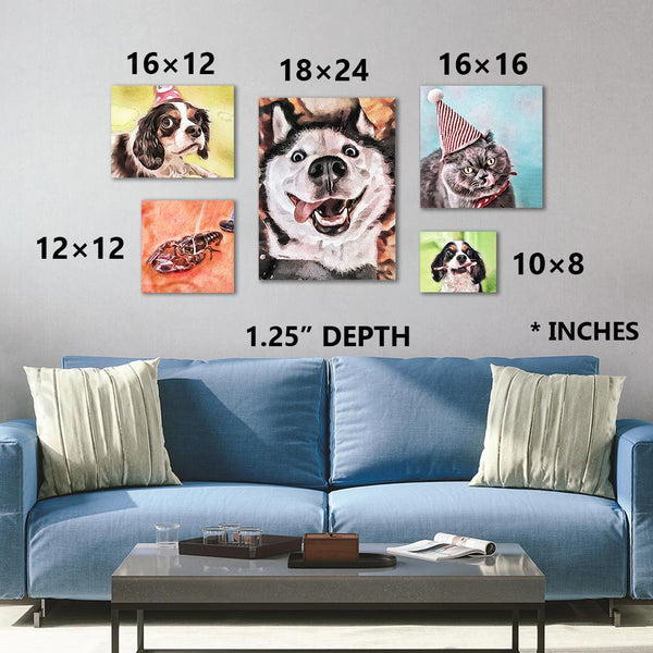 Custom watercolor pet personalized portrait sizing chart for canvas wraps. Sizes in 10×8, 12×12, 16×12, 16×16, 24×18
