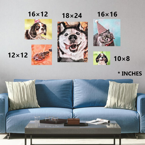 Custom watercolor pet personalized portrait sizing chart as print only. Sizes in 10×8, 12×12, 16×12, 16×16, 24×18