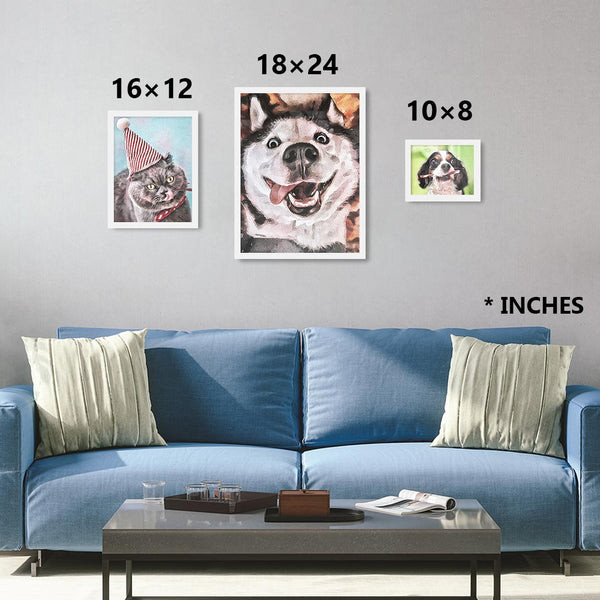 Custom watercolor pet personalized portrait sizing chart in white frames. Sizes in 10×8, 16×12, 24×18