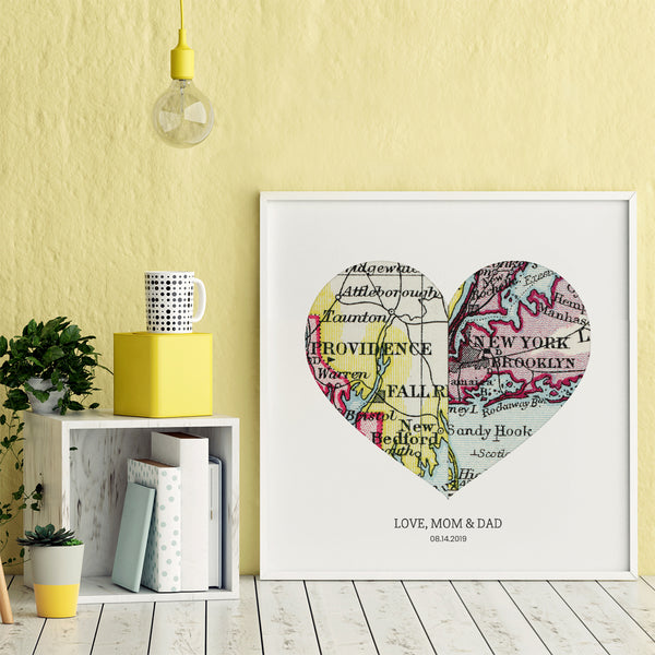 Personalized Heart Map Print