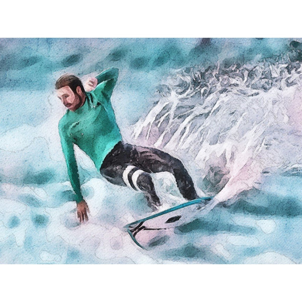 customized watercolor art print featuring surfer on blue hues background