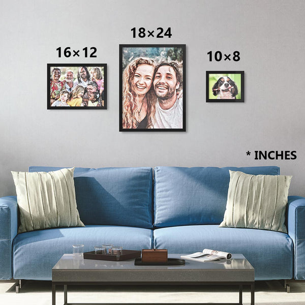 Custom personalized watercolor from photo in black frames in sizes 8×10, 12×16, 18×24