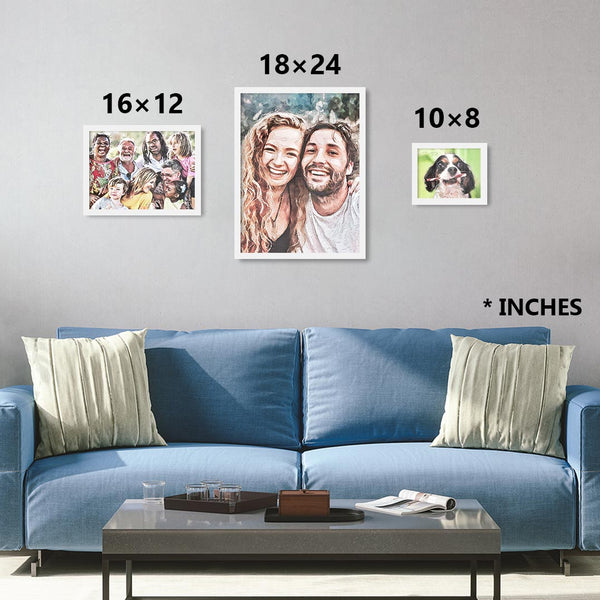 Custom personalized watercolor from photo in white frames in sizes 8×10, 12×16, 18×24