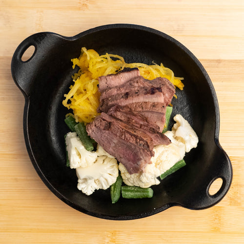 Grilled Steak with Cauliflower & Squash