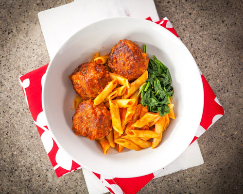 Turkey Meat Balls with Tomato Pasta
