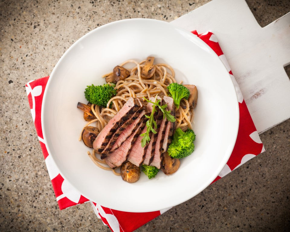 Grilled Steak with Alfredo Pasta