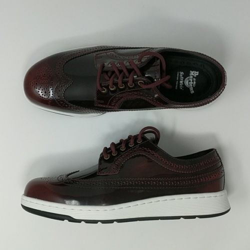 Dr. Martens Gabe Arcadia Brogue Cherry Red Oxfords Wingtip Men's Soft Wair - LoneSole