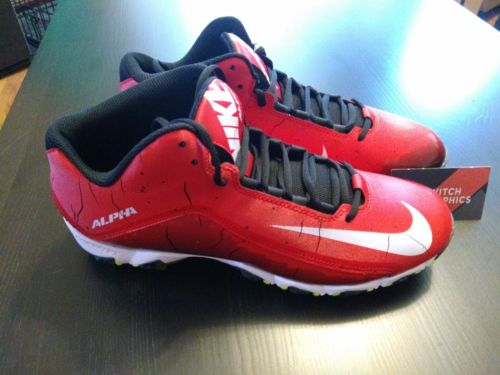 NIKE ALPHA SHARK 2 3 /4 FOOTBALL CLEAT 719952 610 Size 11.5 Red/Black - LoneSole