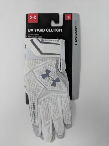 UA Under Armour Yard Clutch Batting Gloves White Grey Size Small 1265933-106 - LoneSole