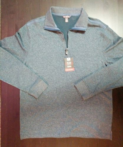 Van Heusen Flex Knit Quarter-Zip Pullover TURQ Men's Sz Small / P NWT MSRP $60 - LoneSole