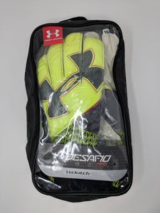 Under Armour Desafio Pro Goalkeeper Soccer Gloves Clutchfit Black Yellow New - LoneSole