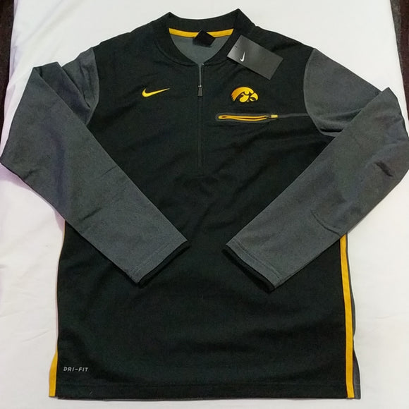 Nike Iowa Hawkeyes Quarter Zip Dri-Fit Mens Jacket Size Small New - LoneSole