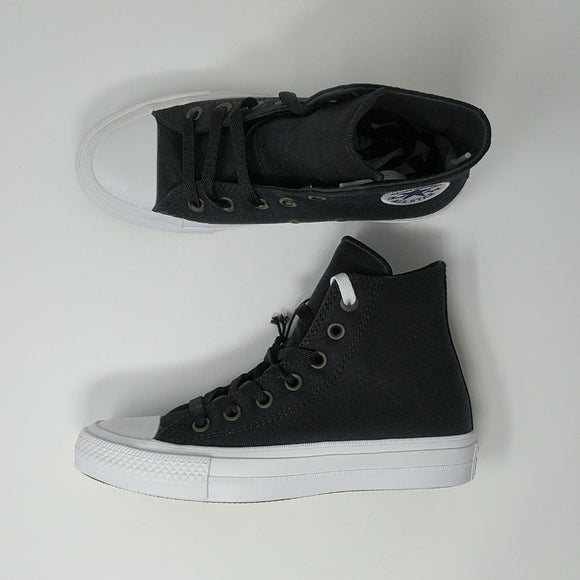 Converse Chuck Taylor All Star II 2 Hi Shoes New Black White 150143C - LoneSole