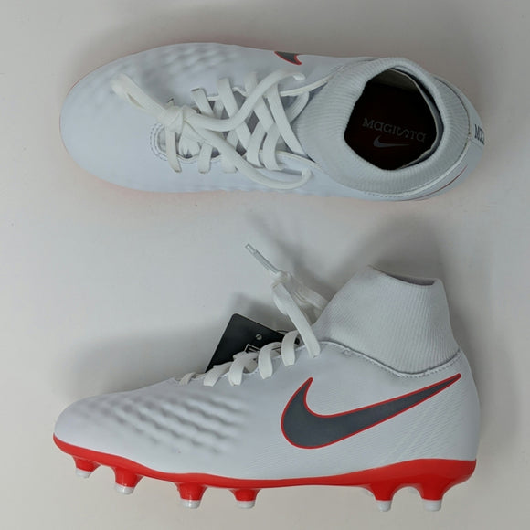 Nike JR Obra 2 Academy DF FG Soccer Cleats White Metallic Cool Grey AH7313 107 - LoneSole
