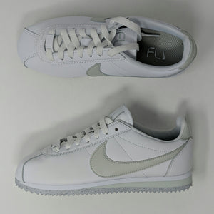 NIKE WMNS CORTEZ FLYLEATHER AR4874-100 White/Light Silver-White New - LoneSole