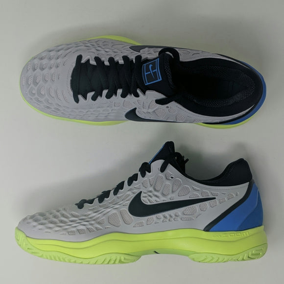 Nike Air Zoom Cage 3 Hard Court Tennis Shoes Volt Blue Grey 918193-004 Sz 7.5 - LoneSole