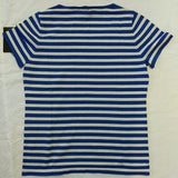Rondina Blue White Striped Knit Short Sleeve Top - LoneSole