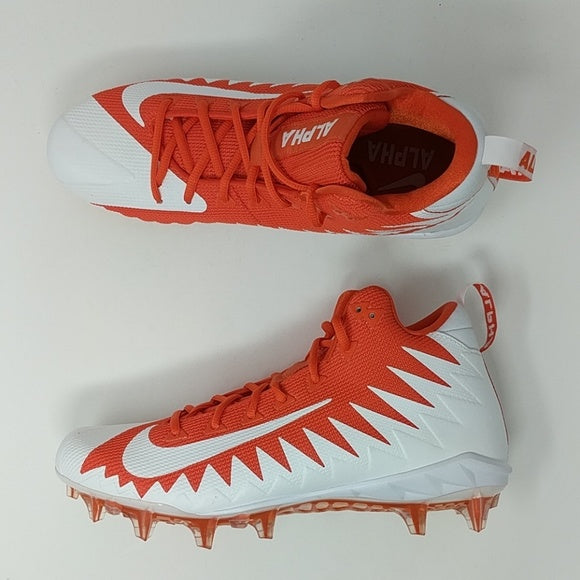 Nike Alpha Menace Pro Mid Football Cleats Team Orange 871451-811 Sz 10 - LoneSole