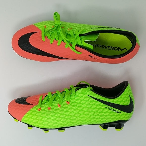 Nike Hypervenom Phelon III FG Electric Green/Hyper Orange New 852556 308 - LoneSole