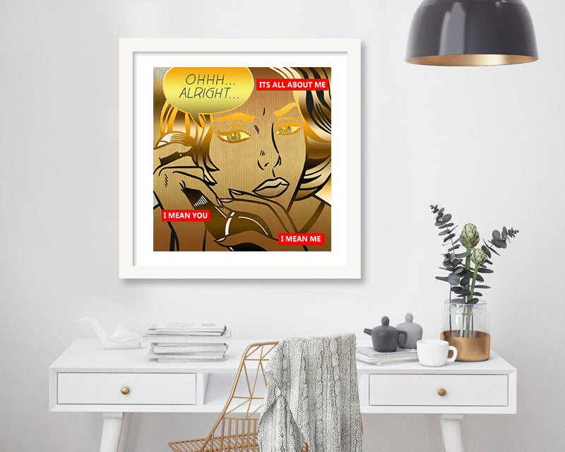 Limited Edition Tribute to Pop Art ALL ABOUT ME Golden Metallic Print