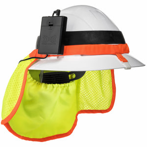 Best Hard Hat Neck Shade With Cooling Fans w/ Lightweight MINI Rechargeable Battery for Extra Power and 12 Hour Life. Fits Full Brim Hard Hats.