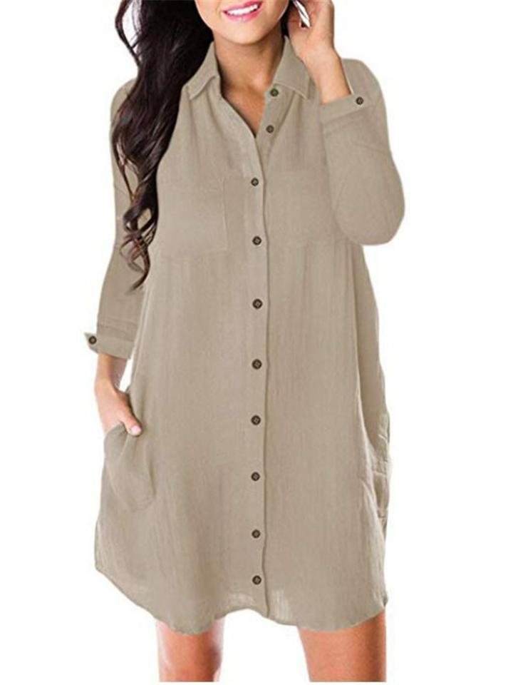 Women Comfy Solid Color Front Button Casual Long Shirt Dress