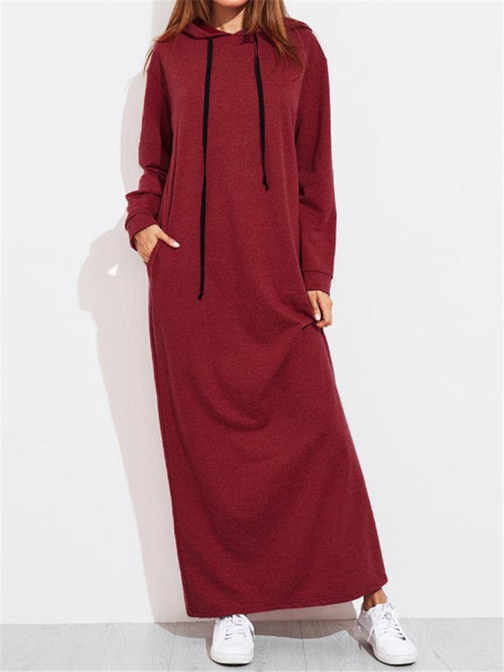 Solid Color Casual Long Sleeve Hooded Shift Dress With Pocket