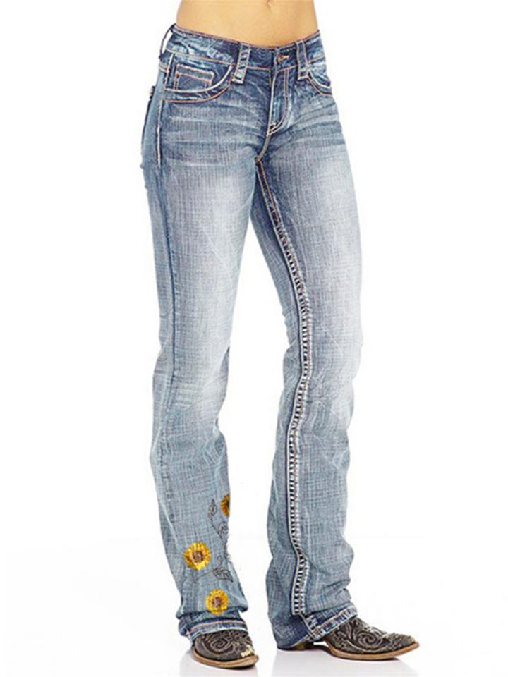 Women Fashion Embroidery Floral Straight Jeans