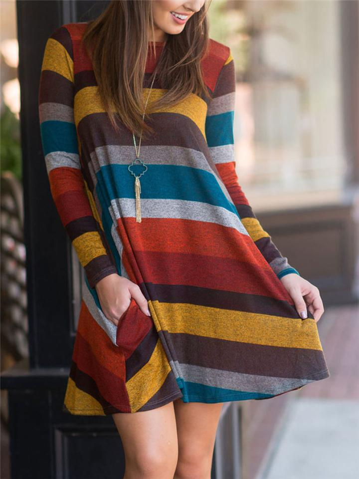 Casual Fit Round Neck Striped Long Sleeve Midi Length Dress