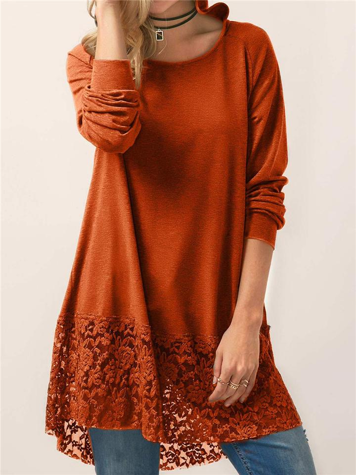 Women Pure Color Lace Patchwork Long Sleeve T-shirt With Hood