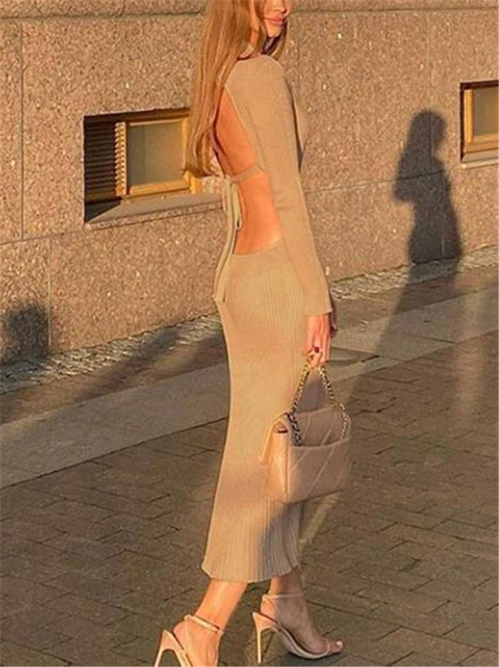Trendy Backless Ribbed Knit Sweater Long Dress