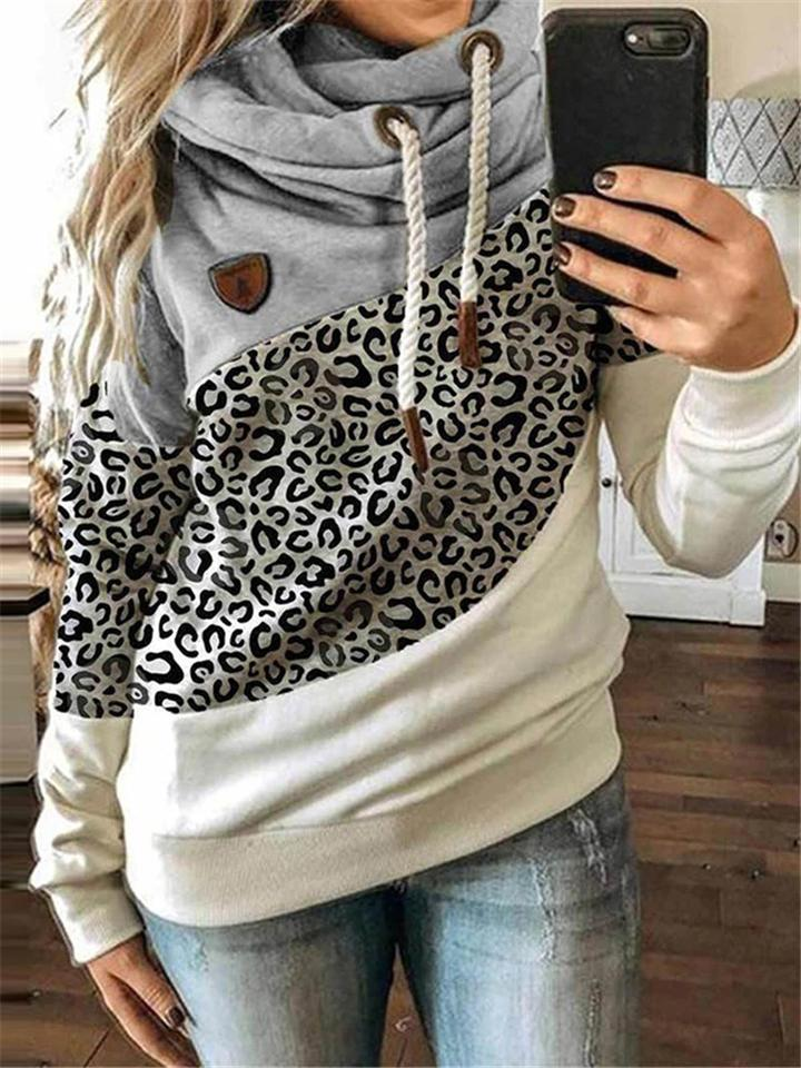 Leopard Color Patchwork Long Sleeve Hooded Sweatshirt