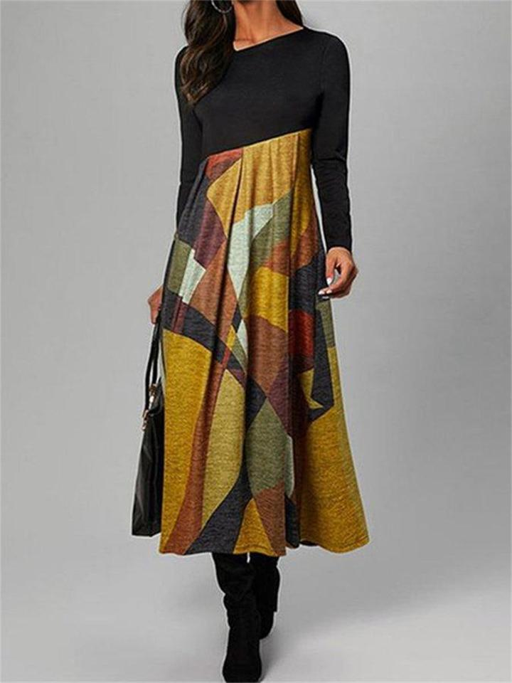 Slim Fit Mid Waist Color Block Pleated Long Sleeve Dress