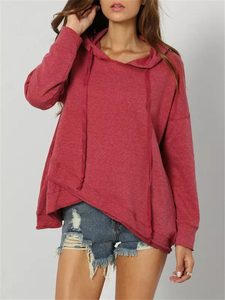Women Stylish Pure Color Asymmetrical Hem Long Sleeve Hooded Sweatshirt